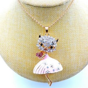 Jewelry - New Pink Cat Lady Crystal Enamel Pendant Necklace